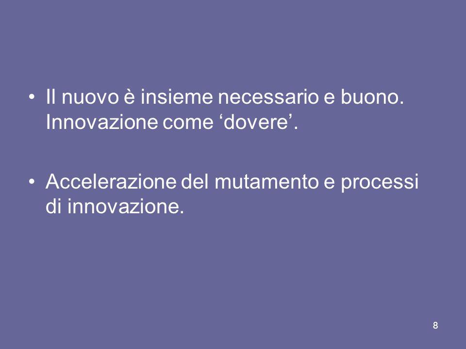 Il nuovo è insieme necessario e buono. Innovazione come dovere. Accelerazione del mutamento e processi di innovazione. 8