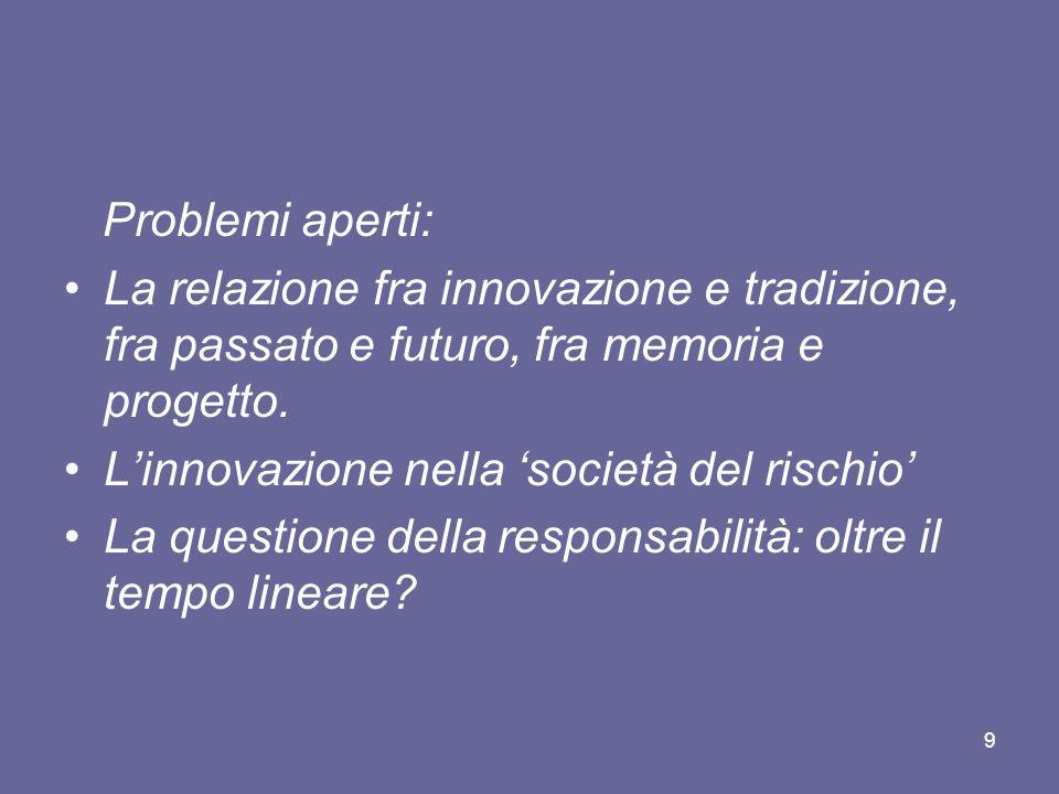 Problemi aperti: La relazione fra innovazione e tradizione, fra passato e futuro, fra memoria e progetto. Linnovazione nella società del rischio La qu