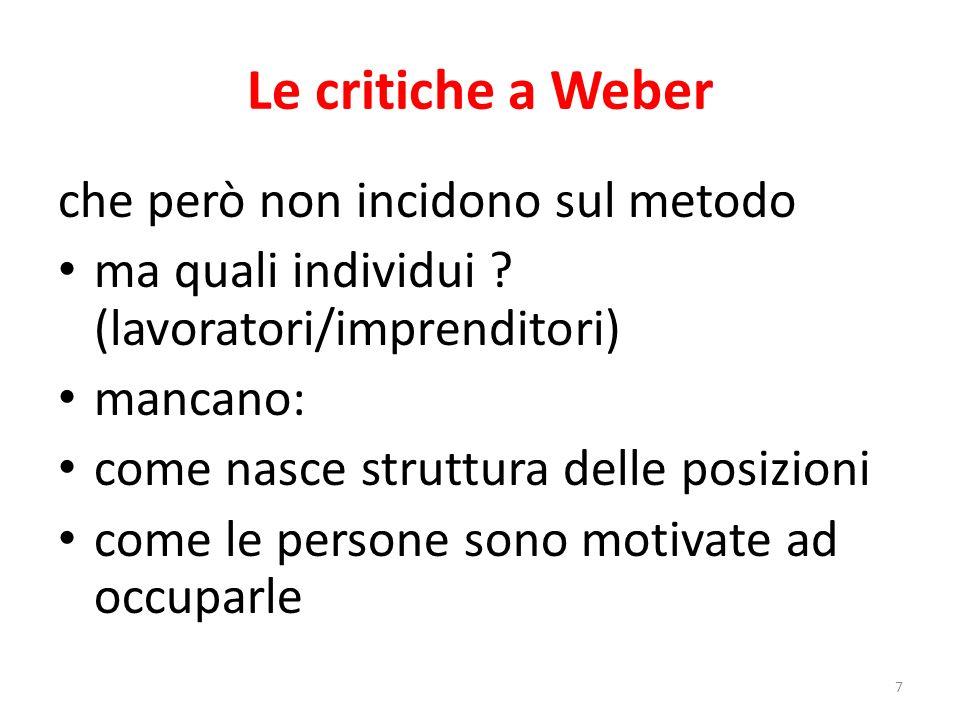 Le critiche a Weber che però non incidono sul metodo ma quali individui ? (lavoratori/imprenditori) mancano: come nasce struttura delle posizioni come