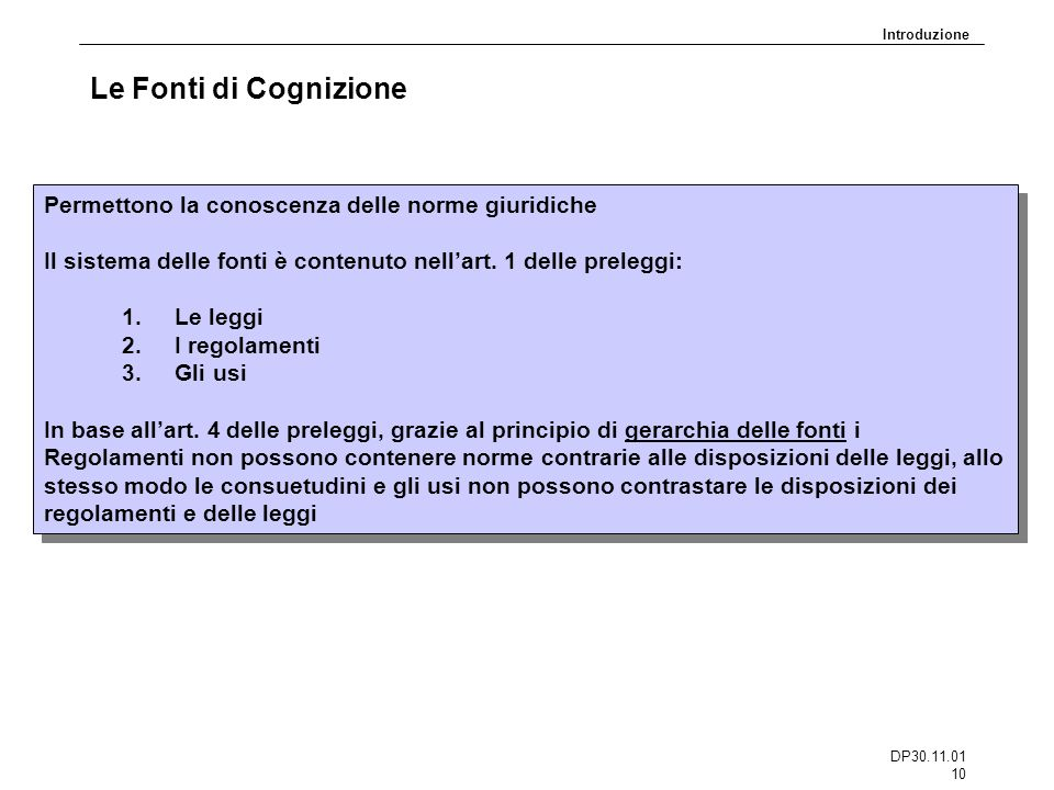 DP30.11.01 10 Le Fonti di Cognizione Permettono la conoscenza delle norme giuridiche Il sistema delle fonti è contenuto nellart. 1 delle preleggi: 1.L