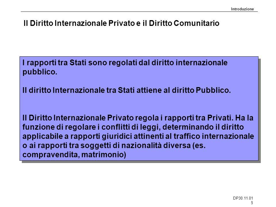 DP30.11.01 5 Il Diritto Internazionale Privato e il Diritto Comunitario I rapporti tra Stati sono regolati dal diritto internazionale pubblico. Il dir
