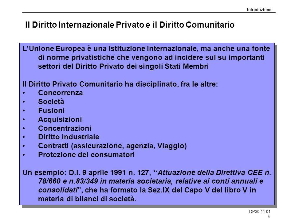 DP30.11.01 6 Il Diritto Internazionale Privato e il Diritto Comunitario LUnione Europea è una Istituzione Internazionale, ma anche una fonte di norme