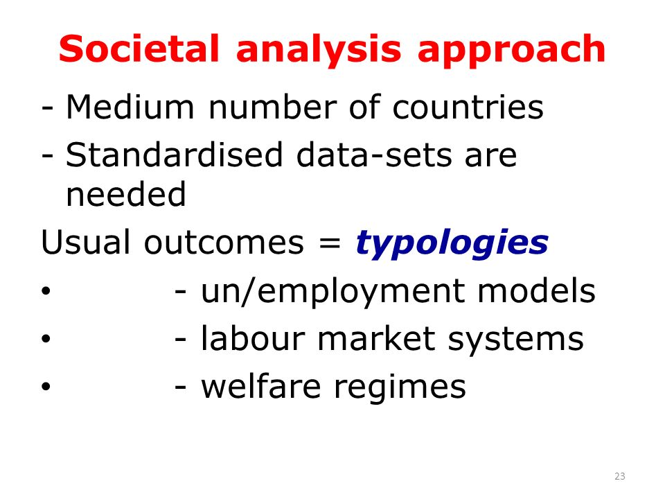 Societal analysis approach -Medium number of countries -Standardised data-sets are needed Usual outcomes = typologies - un/employment models - labour market systems - welfare regimes 23