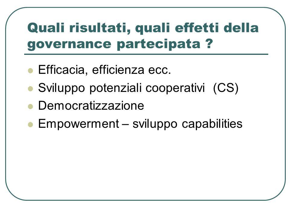Quali risultati, quali effetti della governance partecipata ? Efficacia, efficienza ecc. Sviluppo potenziali cooperativi (CS) Democratizzazione Empowe