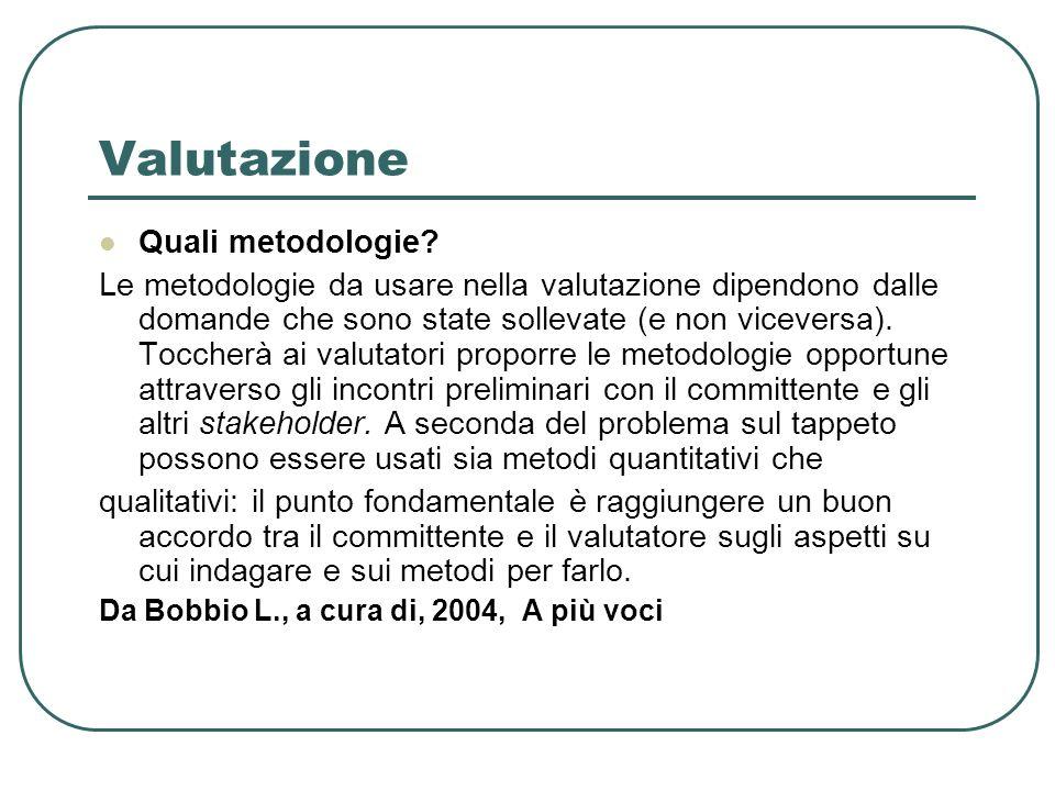 Valutazione Quali metodologie.