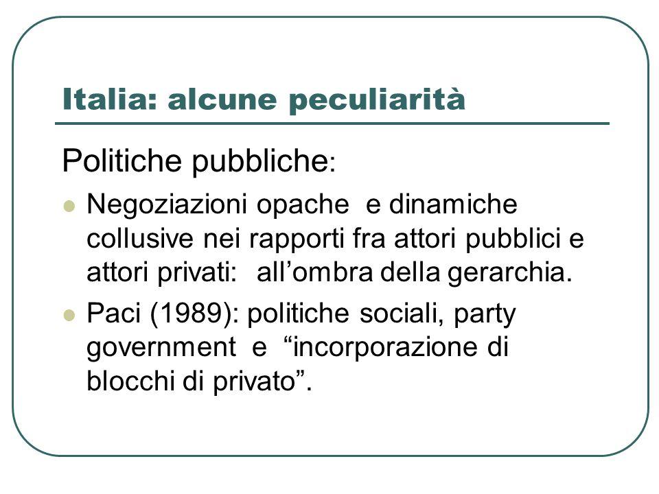 Italia: alcune peculiarità Politiche pubbliche : Negoziazioni opache e dinamiche collusive nei rapporti fra attori pubblici e attori privati: allombra della gerarchia.