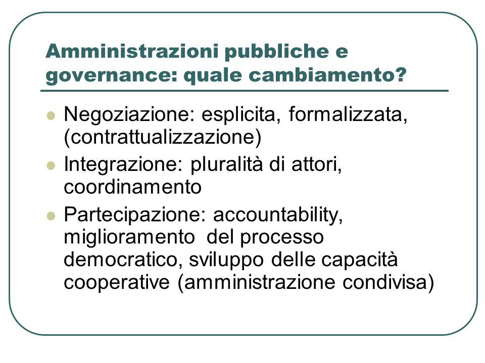 Amministrazioni pubbliche e governance: quale cambiamento? Negoziazione: esplicita, formalizzata, (contrattualizzazione) Integrazione: pluralità di at