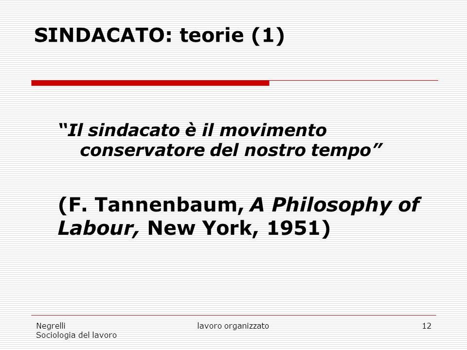 Negrelli Sociologia del lavoro lavoro organizzato12 SINDACATO: teorie (1) Il sindacato è il movimento conservatore del nostro tempo (F.