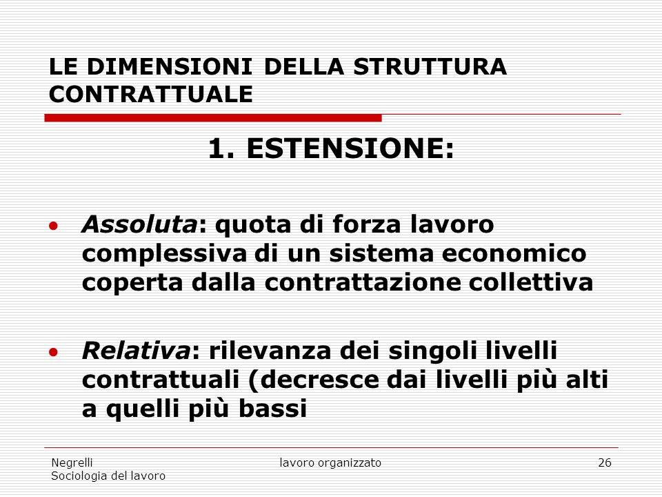 Negrelli Sociologia del lavoro lavoro organizzato26 LE DIMENSIONI DELLA STRUTTURA CONTRATTUALE 1.