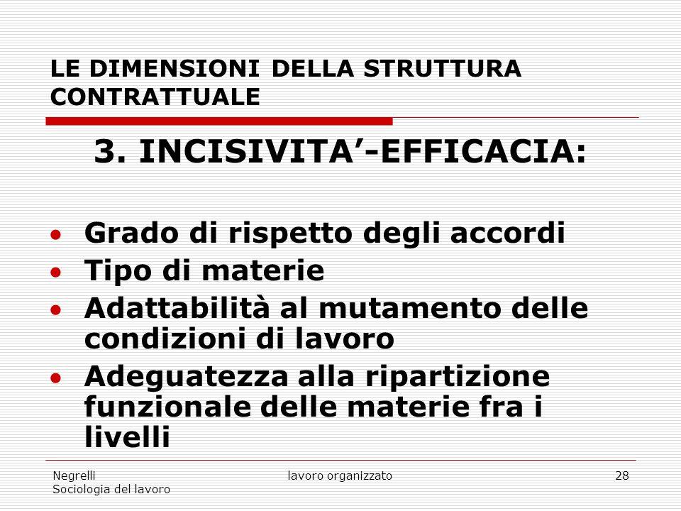 Negrelli Sociologia del lavoro lavoro organizzato28 LE DIMENSIONI DELLA STRUTTURA CONTRATTUALE 3.