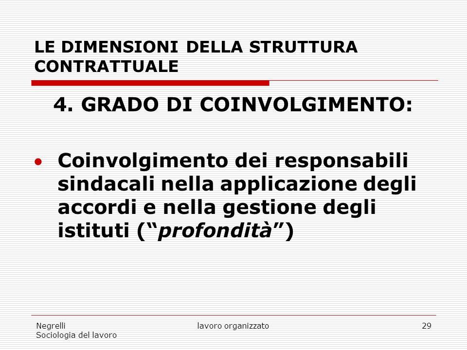Negrelli Sociologia del lavoro lavoro organizzato29 LE DIMENSIONI DELLA STRUTTURA CONTRATTUALE 4.