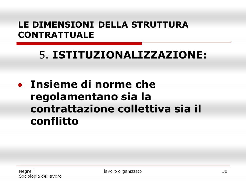 Negrelli Sociologia del lavoro lavoro organizzato30 LE DIMENSIONI DELLA STRUTTURA CONTRATTUALE 5.