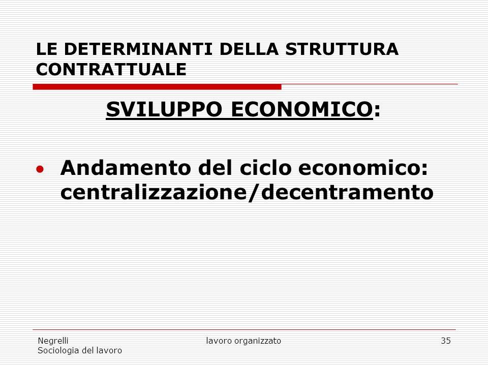 Negrelli Sociologia del lavoro lavoro organizzato35 LE DETERMINANTI DELLA STRUTTURA CONTRATTUALE SVILUPPO ECONOMICO: Andamento del ciclo economico: centralizzazione/decentramento