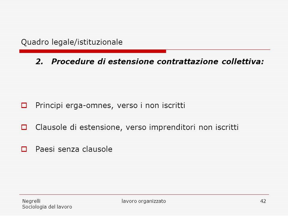 Negrelli Sociologia del lavoro lavoro organizzato42 Quadro legale/istituzionale 2.