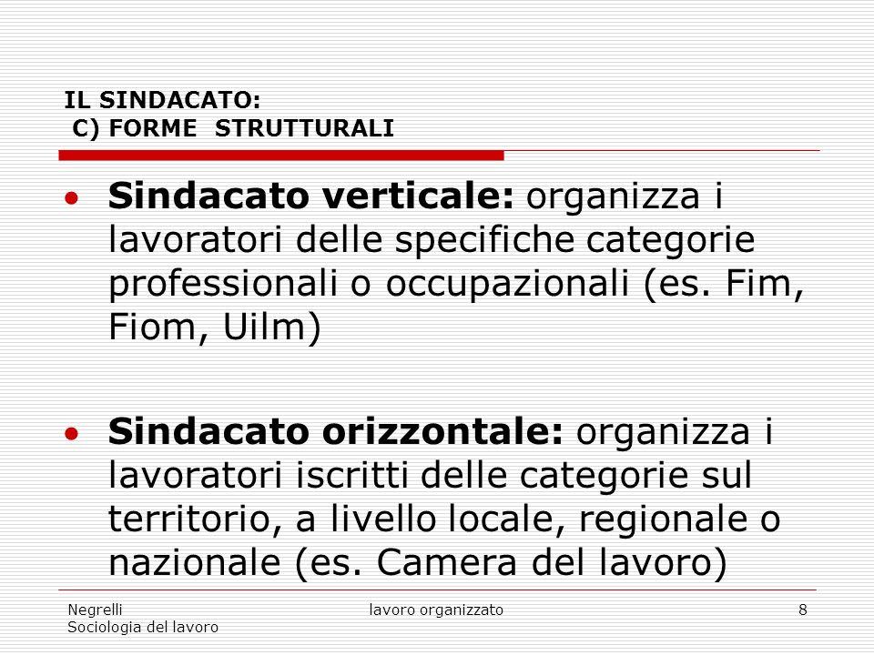 Negrelli Sociologia del lavoro lavoro organizzato8 IL SINDACATO: C) FORME STRUTTURALI Sindacato verticale: organizza i lavoratori delle specifiche categorie professionali o occupazionali (es.