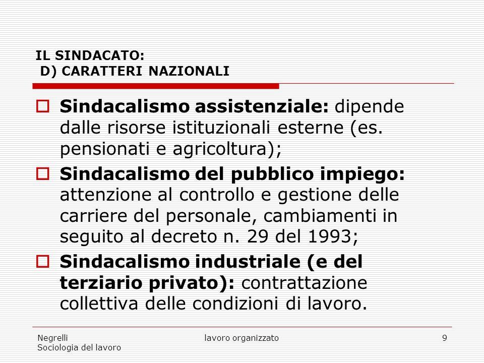 Negrelli Sociologia del lavoro lavoro organizzato9 IL SINDACATO: D) CARATTERI NAZIONALI Sindacalismo assistenziale: dipende dalle risorse istituzionali esterne (es.