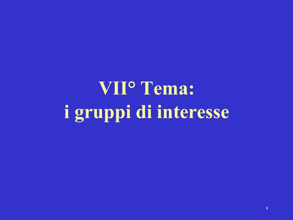1 VII° Tema: i gruppi di interesse