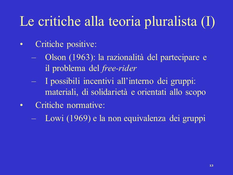 13 Le critiche alla teoria pluralista (I) Critiche positive: –Olson (1963): la razionalità del partecipare e il problema del free-rider –I possibili i