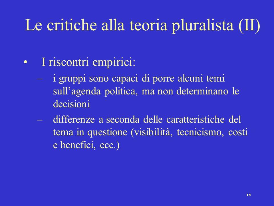 14 Le critiche alla teoria pluralista (II) I riscontri empirici: –i gruppi sono capaci di porre alcuni temi sullagenda politica, ma non determinano le