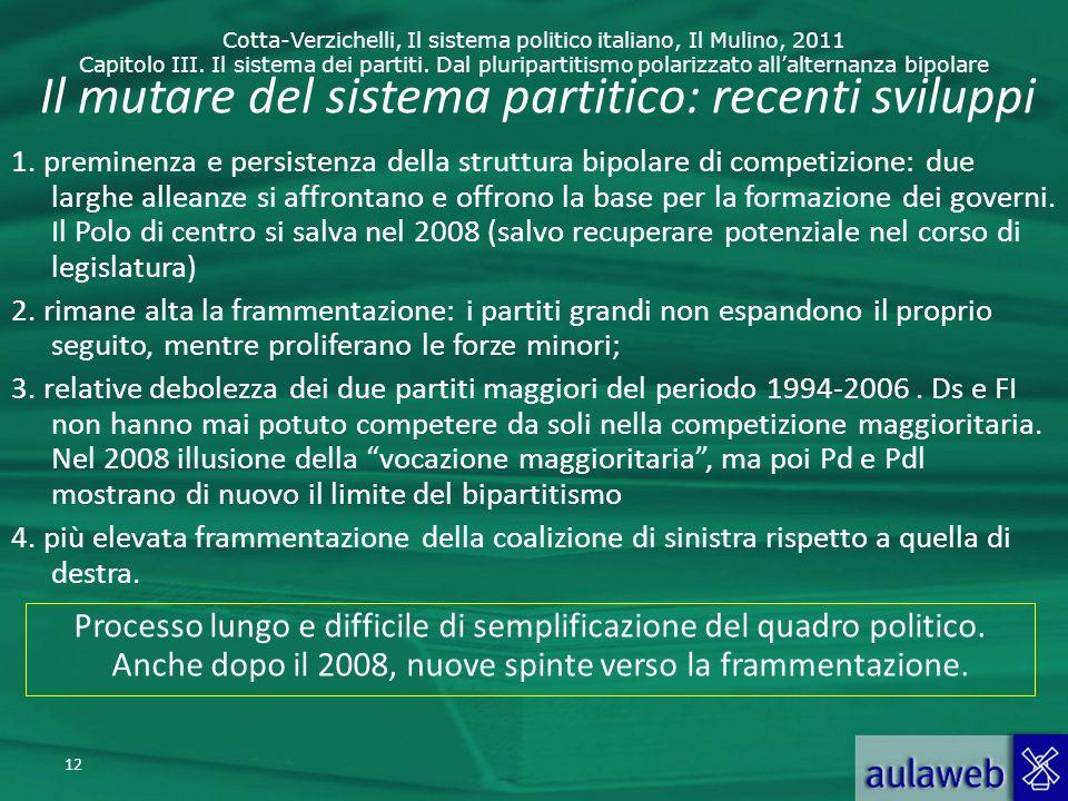 Cotta-Verzichelli, Il sistema politico italiano, Il Mulino, 2011 Capitolo III. Il sistema dei partiti. Dal pluripartitismo polarizzato allalternanza b