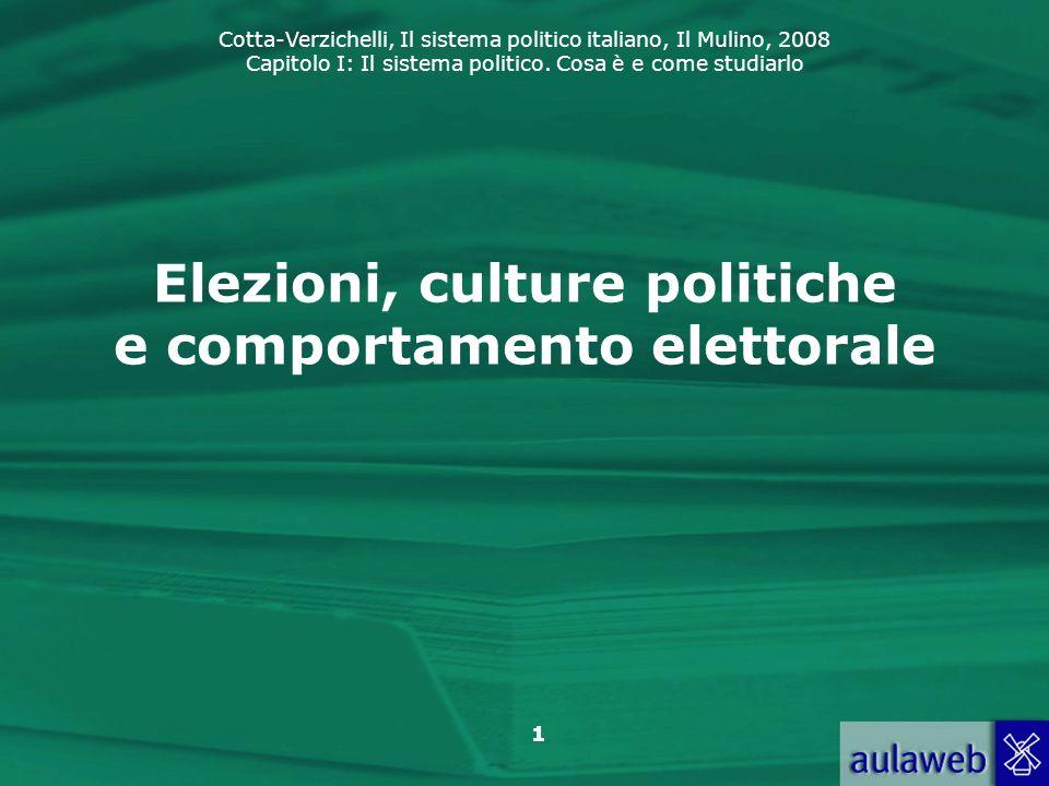 Cotta-Verzichelli, Il sistema politico italiano, Il Mulino, 2008 Capitolo I: Il sistema politico. Cosa è e come studiarlo 1 Elezioni, culture politich