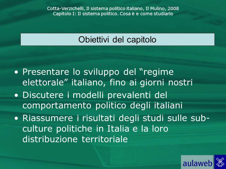 Cotta-Verzichelli, Il sistema politico italiano, Il Mulino, 2008 Capitolo I: Il sistema politico. Cosa è e come studiarlo Presentare lo sviluppo del r