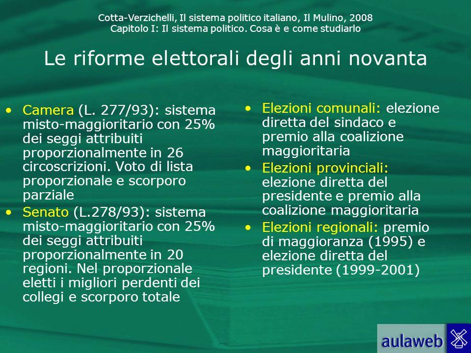 Cotta-Verzichelli, Il sistema politico italiano, Il Mulino, 2008 Capitolo I: Il sistema politico. Cosa è e come studiarlo Le riforme elettorali degli