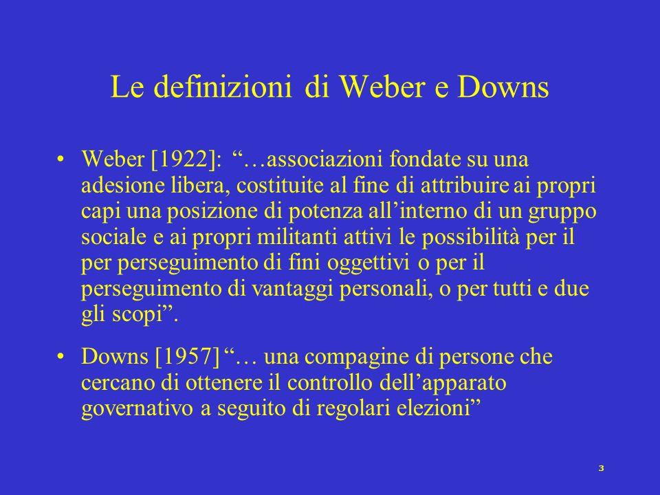 3 Le definizioni di Weber e Downs Weber [1922]: …associazioni fondate su una adesione libera, costituite al fine di attribuire ai propri capi una posizione di potenza allinterno di un gruppo sociale e ai propri militanti attivi le possibilità per il per perseguimento di fini oggettivi o per il perseguimento di vantaggi personali, o per tutti e due gli scopi.
