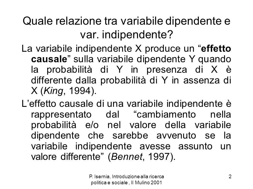 P. Isernia, Introduzione alla ricerca politica e sociale, Il Mulino 2001 2 Quale relazione tra variabile dipendente e var. indipendente? La variabile