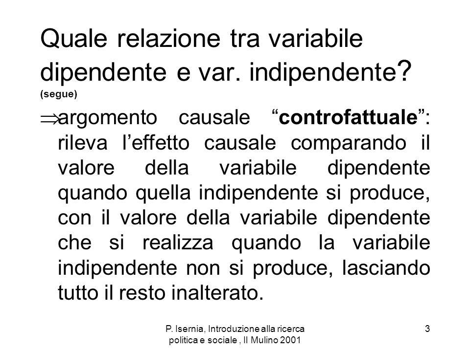 P. Isernia, Introduzione alla ricerca politica e sociale, Il Mulino 2001 3 Quale relazione tra variabile dipendente e var. indipendente ? (segue) argo