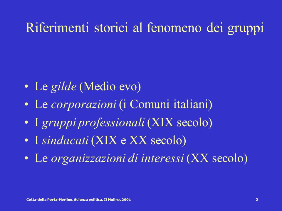 Cotta-della Porta-Morlino, Scienza politica, Il Mulino, 200112 La teoria pluralista dei gruppi La presenza dei gruppi come fonte di : 1)Equilibrio.