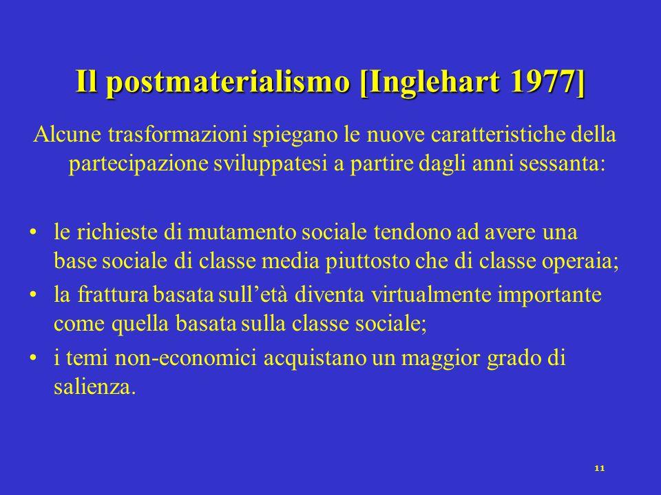 10 Tipi di movimenti collettivi (Melucci, 1977) Movimenti rivendicativi: imporre mutamenti in norme, ruoli, procedure di assegnazione delle risorse so
