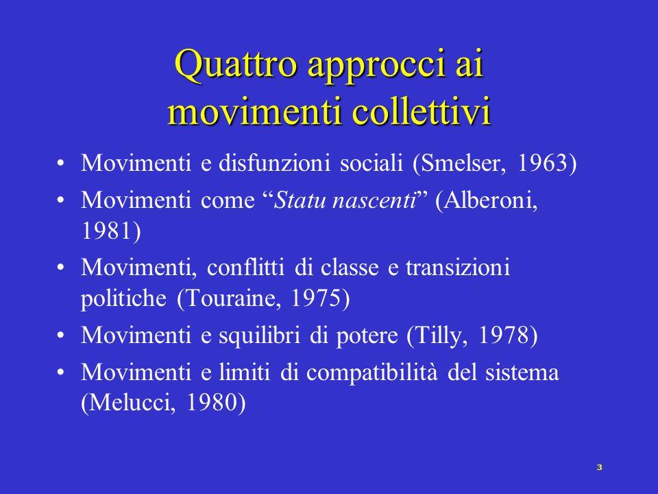 2 I movimenti sociali [Della Porta e Diani 1997] Il concetto di movimento sociale si riferisce a …reti di interazioni prevalentemente informali basate