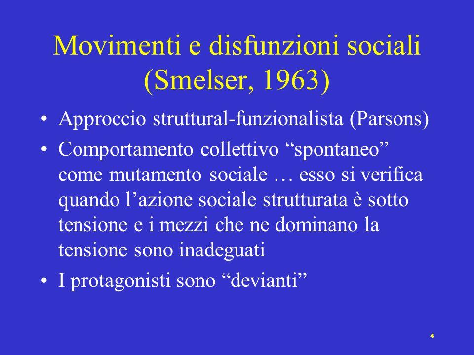 3 Quattro approcci ai movimenti collettivi Movimenti e disfunzioni sociali (Smelser, 1963) Movimenti come Statu nascenti (Alberoni, 1981) Movimenti, c