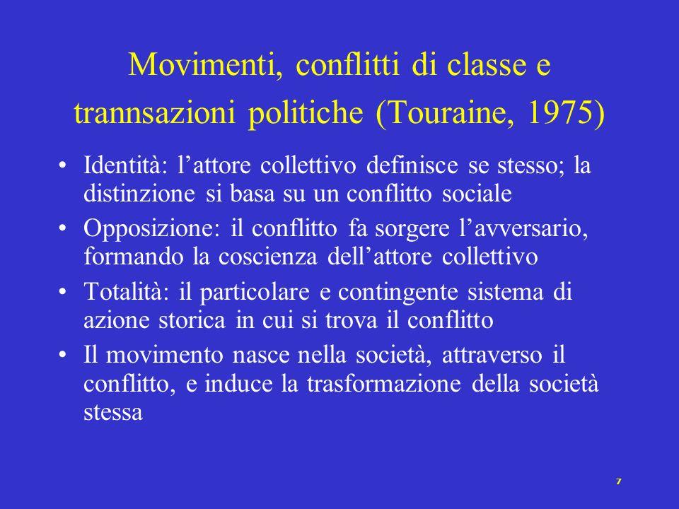 6 Chi dà vita ai movimenti (Alberoni, 1981) Con il movimento (Statu nascenti) si rompono vecchie solidarietà e se ne formano di nuove Protagonisti: i