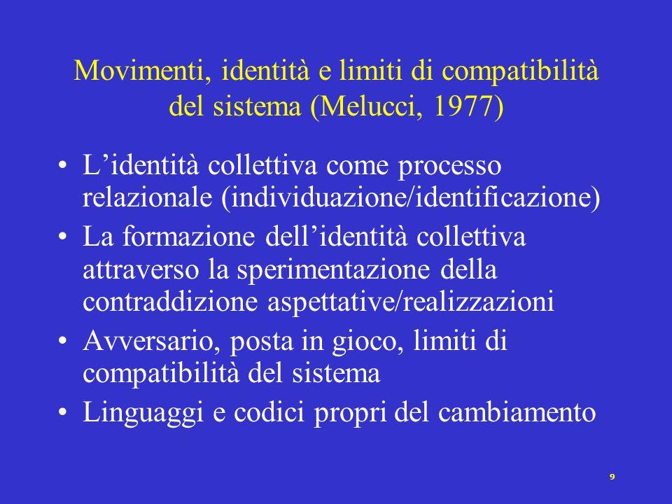 8 Movimenti e squilibri di potere (Tilly, 1978) In tutte le società esiste uno squilibrio nella distribuzione del potere Nellinterazione sociale si sv
