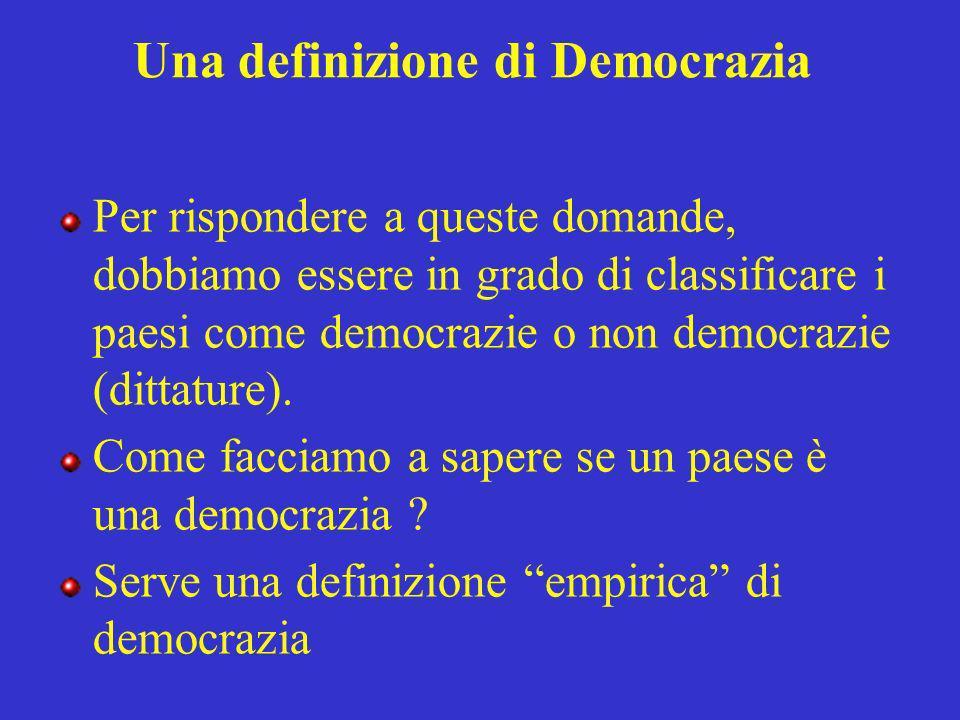 Una definizione di Democrazia Per rispondere a queste domande, dobbiamo essere in grado di classificare i paesi come democrazie o non democrazie (dittature).