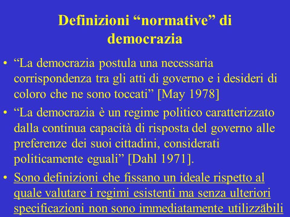 14 Definizioni normative di democrazia La democrazia postula una necessaria corrispondenza tra gli atti di governo e i desideri di coloro che ne sono
