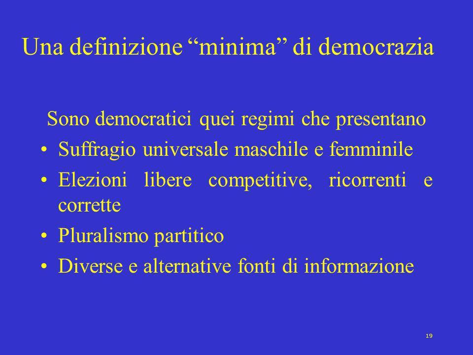 19 Una definizione minima di democrazia Sono democratici quei regimi che presentano Suffragio universale maschile e femminile Elezioni libere competit