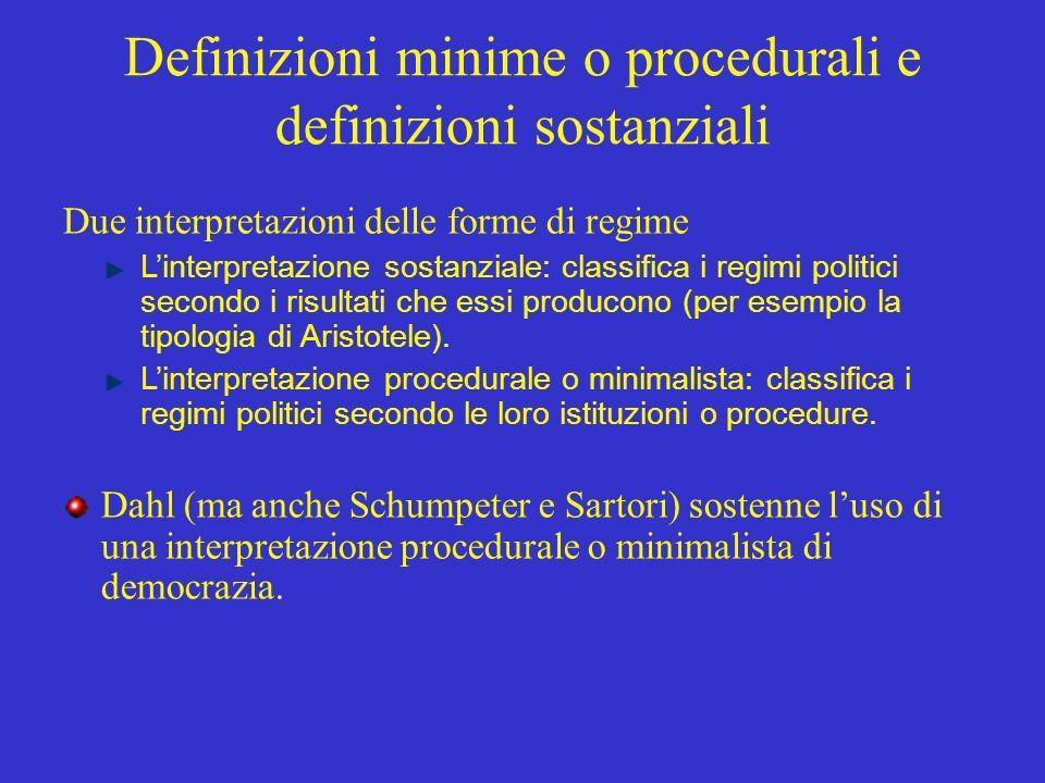 Definizioni minime o procedurali e definizioni sostanziali Due interpretazioni delle forme di regime Linterpretazione sostanziale: classifica i regimi politici secondo i risultati che essi producono (per esempio la tipologia di Aristotele).