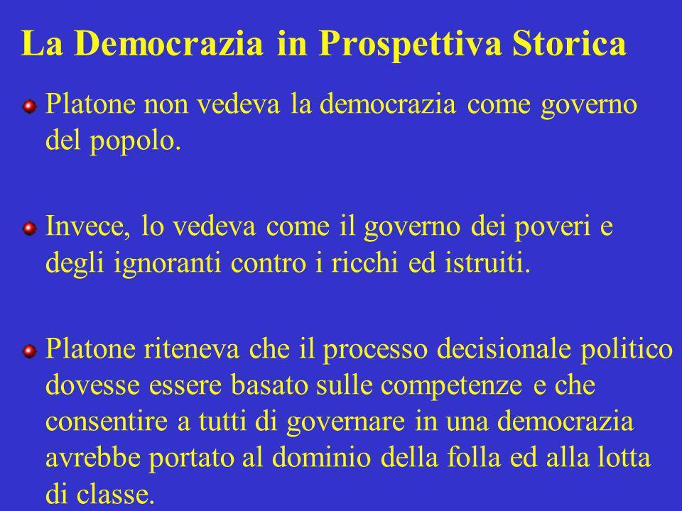 La Democrazia in Prospettiva Storica Platone non vedeva la democrazia come governo del popolo. Invece, lo vedeva come il governo dei poveri e degli ig