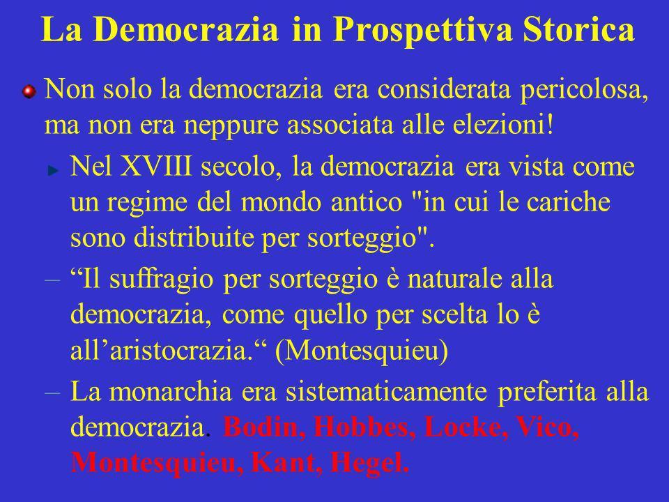 La Democrazia in Prospettiva Storica Non solo la democrazia era considerata pericolosa, ma non era neppure associata alle elezioni! Nel XVIII secolo,