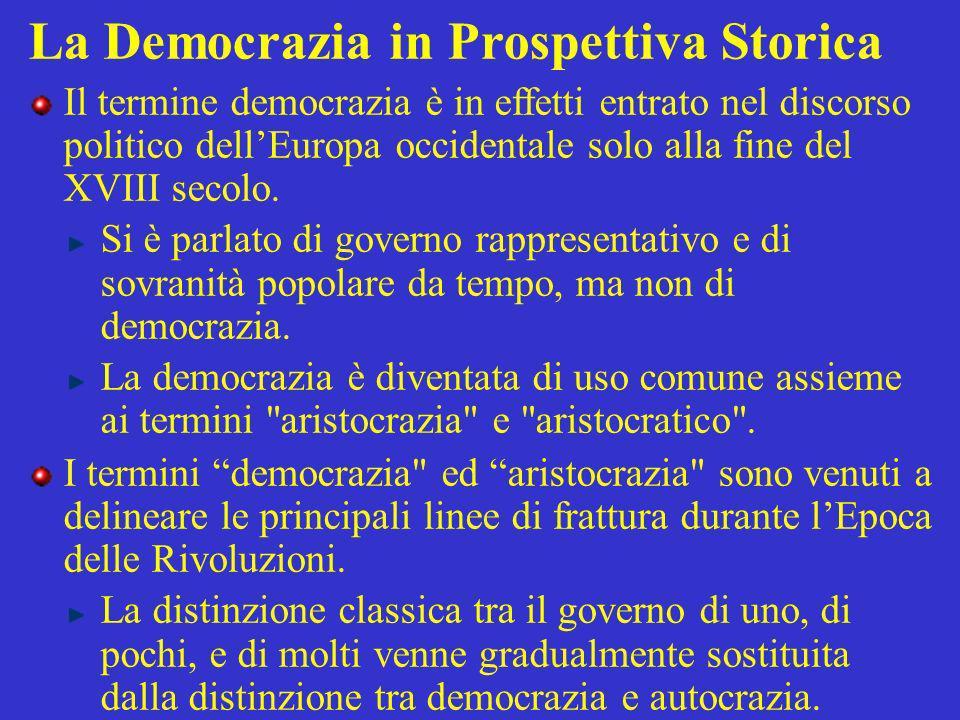 La Democrazia in Prospettiva Storica Il termine democrazia è in effetti entrato nel discorso politico dellEuropa occidentale solo alla fine del XVIII secolo.