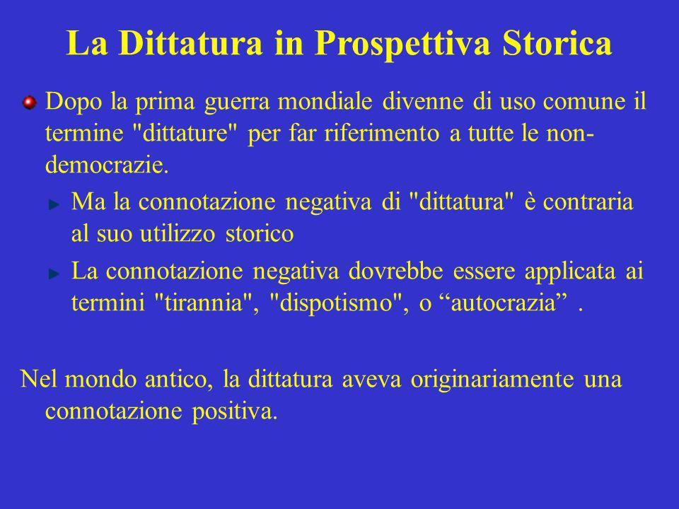 La Dittatura in Prospettiva Storica Il dittatore (dictator) era un magistrato romano straordinario nominato in circostanze eccezionali.