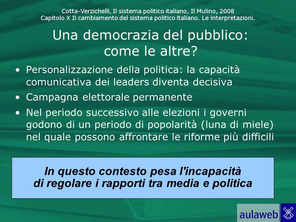 Cotta-Verzichelli, Il sistema politico italiano, Il Mulino, 2008 Capitolo X Il cambiamento del sistema politico italiano. Le interpretazioni. Una demo