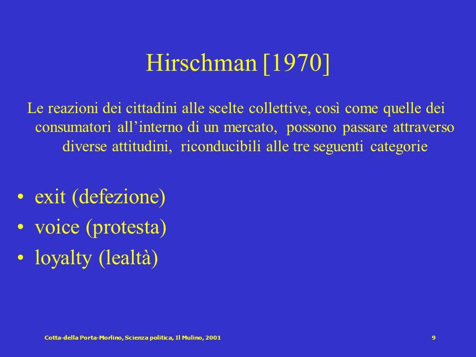 Cotta-della Porta-Morlino, Scienza politica, Il Mulino, 20018 Il postmaterialismo [Inglehart 1977] Alcune trasformazioni spiegano le nuove caratterist