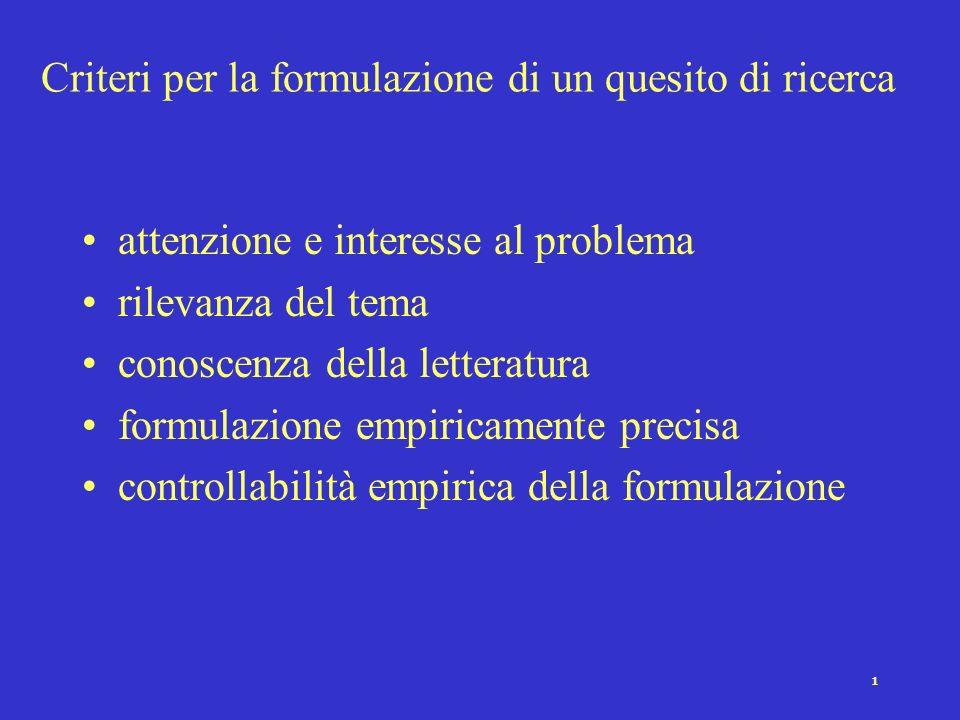1 Criteri per la formulazione di un quesito di ricerca attenzione e interesse al problema rilevanza del tema conoscenza della letteratura formulazione empiricamente precisa controllabilità empirica della formulazione