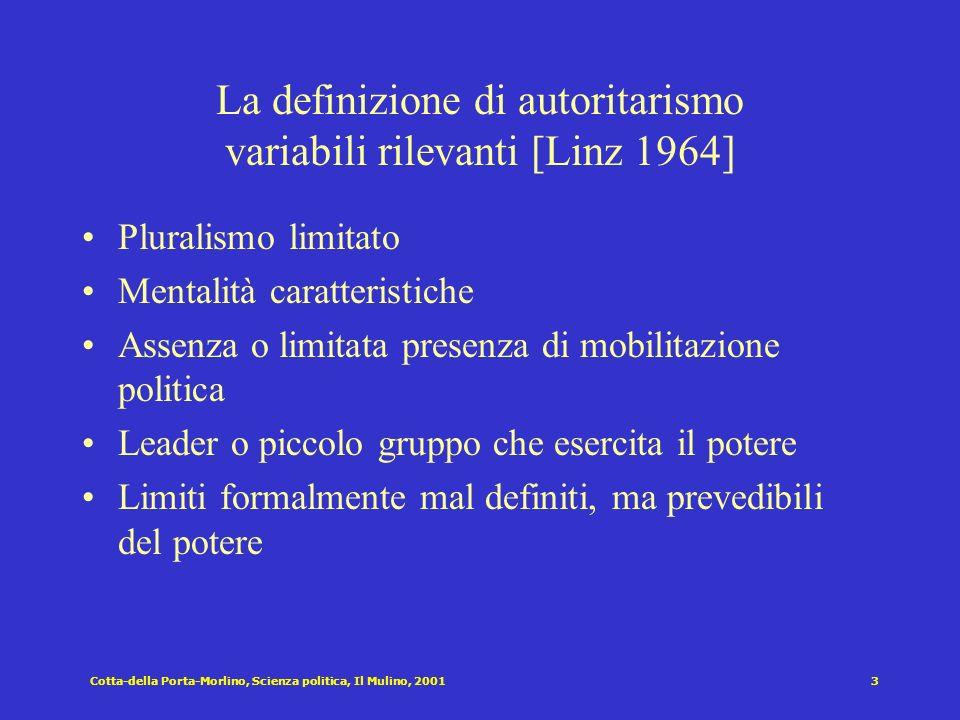 Cotta-della Porta-Morlino, Scienza politica, Il Mulino, 20012 Regimi non democratici AUTORITARISMI TOTALITARISMI REGIMI TRADIZIONALI