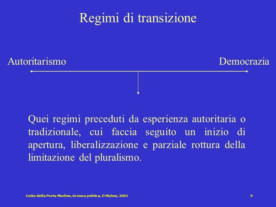 Cotta-della Porta-Morlino, Scienza politica, Il Mulino, 20019 Regimi di transizione AutoritarismoDemocrazia Quei regimi preceduti da esperienza autoritaria o tradizionale, cui faccia seguito un inizio di apertura, liberalizzazione e parziale rottura della limitazione del pluralismo.