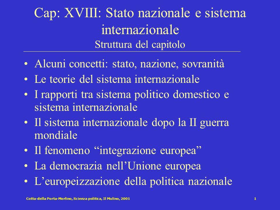 Cotta-della Porta-Morlino, Scienza politica, Il Mulino, 20011 Cap: XVIII: Stato nazionale e sistema internazionale Struttura del capitolo Alcuni conce